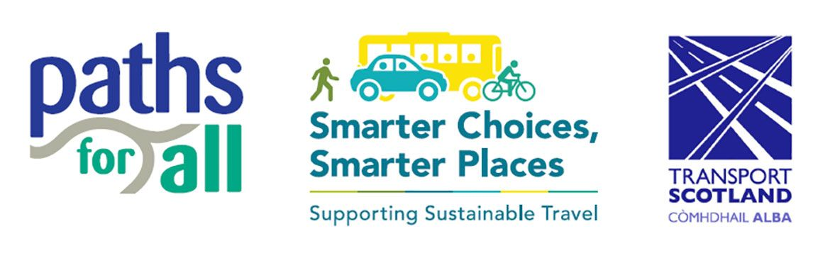 Logos of Paths For All, Smarter Choices, Smarter Places, and Transport Scotland