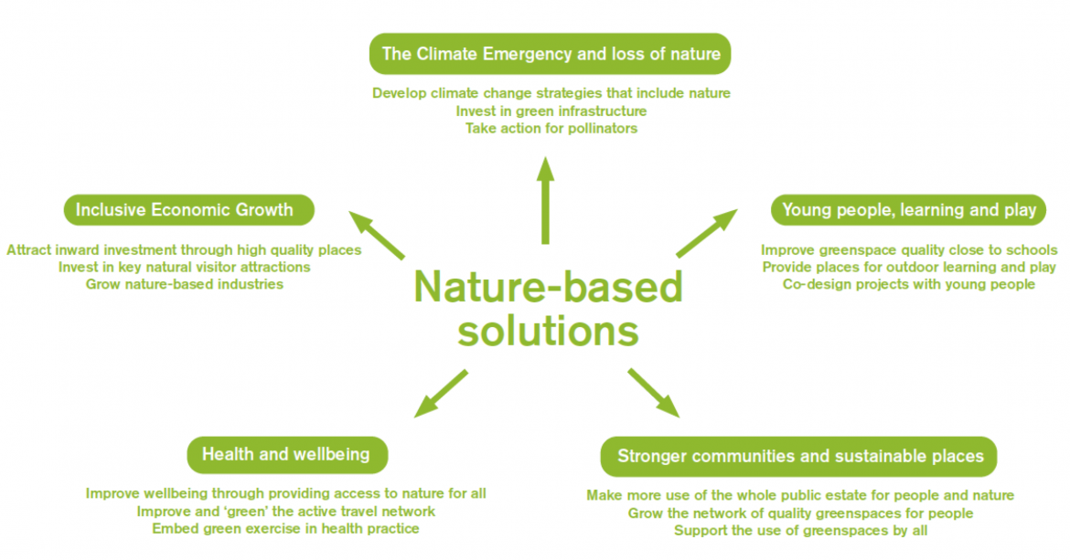 Nature based solutions in five categories: the climate emergency and loss of nature; young people, learning and play; stronger communities and sustainable places; health and wellbeing; and inclusive economic growth.