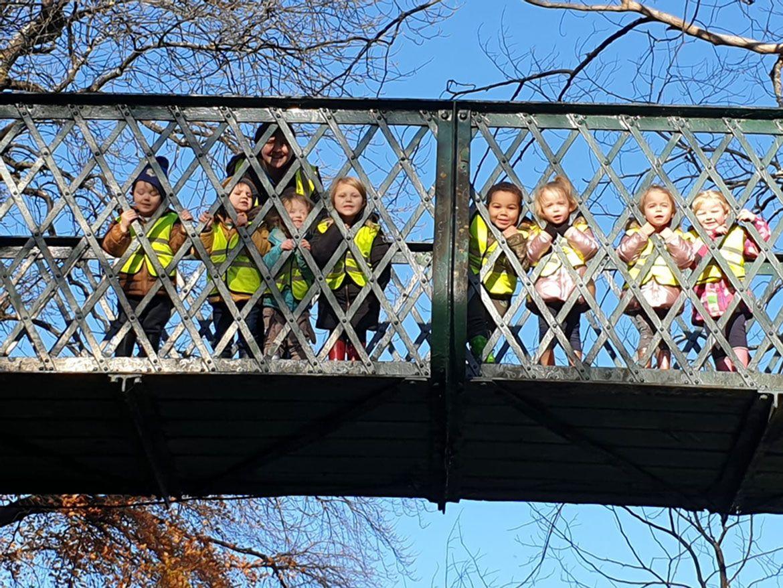 Nursery trip to the railway bridge
