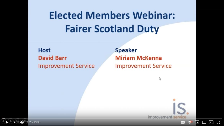 Elected Member Webinar on the Fairer Scotland Duty